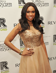 Jennifer Hudson accessorized her look with a white and brown geode and diamond ring set in 18-carat rose gold.