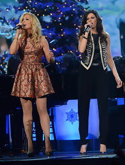 Karen Fairchild jazzed up her blouse and slacks combo with an embellished vest for the Country Christmas concert.