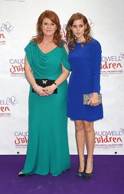 Sarah Ferguson attended the Diamond Butterfly Ball in her green cowl neck dress.