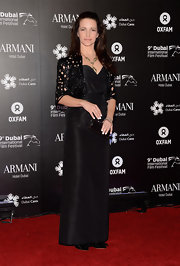 Kristin Davis looked so proper in this crisp black taffeta evening dress that floated just above her bowed shoes.