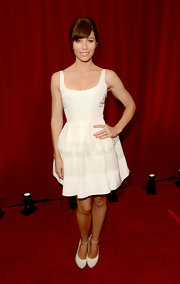 Jessica Biel paired her LWD with white platform pumps by Nicholas Kirkwood for Roksanda Ilincic. The shoes had a surprise--neon-yellow heels--that made them far from boring.