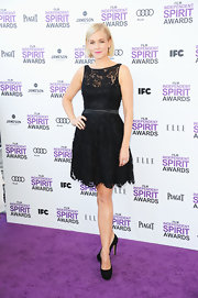 Penelope Ann Miller accessorized her look with black platform pumps.