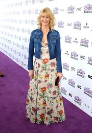Laura Dern wore this floral print maxi-dress with a jean jacket to the Independent Spirit Awards.