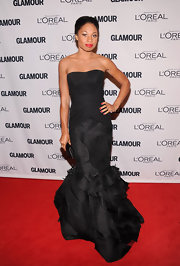 Allyson Felix looked dynamite in this black textured mermaid gown at the Glamour Women of the Year Awards.