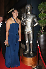 It was refreshing to see Valerie Adams all dolled up in a blue one-shoulder dress at the Halberg Awards.