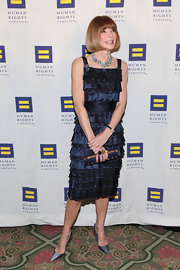 Anna Wintour wore a blue satin dress with a tiered texture to the Human Rights Campaign Gala.