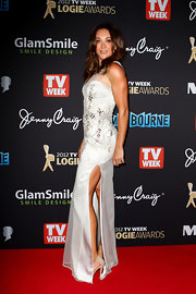 Michelle Bridges' dress had a bit of everything! A little beading, sheer fabric and a fabulous slit up the side!