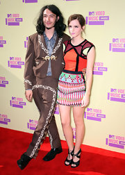 Ezra Miller again made a statement wearing a brown toreador outfit at the 2012 MTV Video Music Awards.