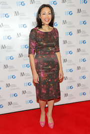 Ann Curry finished off her ensemble with a cute pair of pink platform peep-toes that would make Barbie proud!