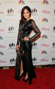 Ximena made a grand red carpet appearance in this black lacy design on the Miss Universe red carpet.