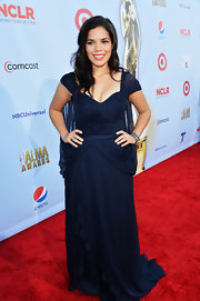 America Ferrera was a vision in this midnight blue draped chiffon gown.