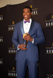 Cam Newton looked dapper in this cobalt blue suit with satin lapels at the NFL Honors.