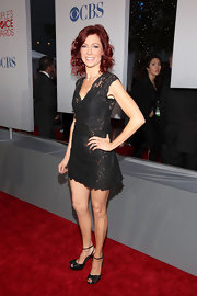 Carrie Preston paired her lace dress with black satin sandals complete with bow detailing.
