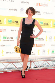 Violante Placido arrived at the 'Premi David di Donatello' awards in a classic little black dress.