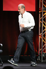 Kelsey Grammer chose black jeans, a patterned button-down, and running shoes for the 2012 Summer TCA Tour.