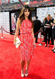Jordana Brewster wore this bright bubble print dress on the red carpet of the TCM Classic Film Festival opening night.