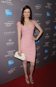 Bitsie Tulloch played up her fair skin at the Tribeca Film Festival reception in this pale pink dress.