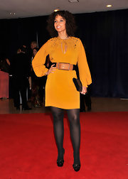 Alicia Keys went the more casual route at the White House Correspondents' Dinner in this mustard silk dress with a keyhole neckline.