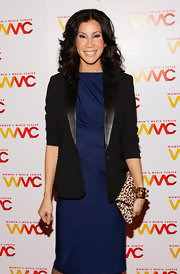 Lisa Ling looked very put together at the 2012 Women's Media Awards as she chose a leopard colored clutch as the focal point of her outfit.