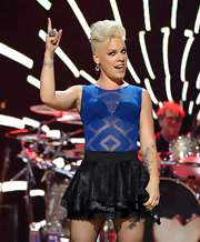 Pink looked ready to rock in a sheer printed tank that didn't leave much room to the imagination.