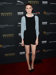 Karen Gillan opted for a casual look with a black romper worn with a blue silk blouse when she attended the BAFTA LA Britannia Awards.