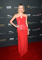 Keltie Knight donned a multitextured red strapless gown with peplum detail for the BAFTA LA Britannia Awards.