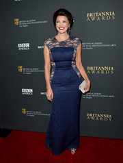 Shohreh Aghdashloo looked timeless in a blue lace-panel evening dress during the BAFTA LA Britannia Awards.