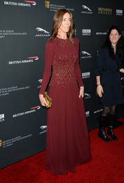 Kathryn Bigelow kept it modest yet elegant at the BAFTA LA Britannia Awards in a long-sleeve maroon gown with gold beading on the bodice.
