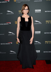 Sigourney Weaver exuded style and elegance at the BAFTA LA Britannia Awards in a black Giorgio Armani evening dress with a velvet-panel bodice.