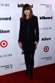 Ellen Healy attended the Billboard Women in Music event wearing a biker-chic jacket over an LBD.