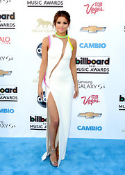 Selena Gomez's white and neon gown, which she wore to the 2013 Billboard Music Awards, featured a cool abstract cutout and a thigh-high leg slit.