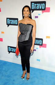 Padma Lakshmi opted for a modern take on the corset top when she chose this gray and black piece.