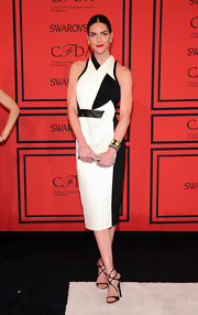 A pair of black Jimmy Choo Lance sandals added major sexiness to Hilary Rhoda's look.