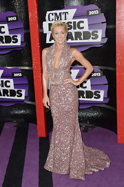 Kellie Pickler's blush-colored beaded frock featured a draped neck and full skirt.