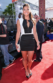 Hope Solo rocked a fitted black-and-white color blocked frock.