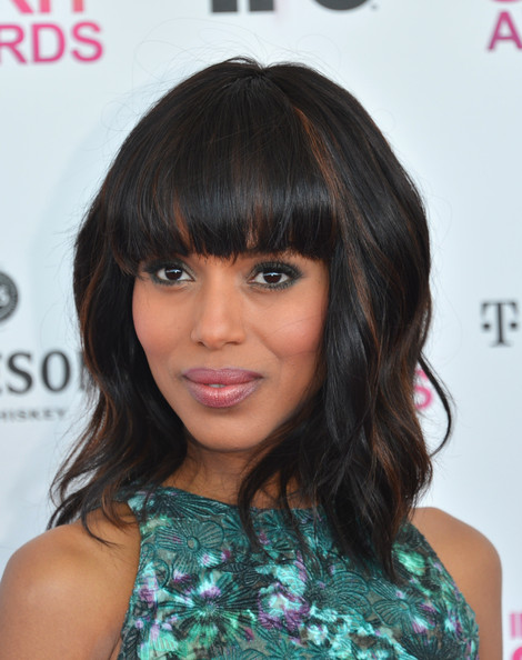 More Pics of Kerry Washington Medium Wavy Cut with Bangs (1 of 28) - Shoulder Length Hairstyles Lookbook - StyleBistro
