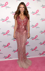 Elizabeth Hurley simply sparkled on the pink carpet at The Breast Cancer Foundation's Hot Pink Party, where she donned this beaded pink gown.