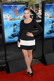 Zoe Levin went for modern sophistication with this long-sleeve black-and-white cocktail dress at the Los Angeles Film Festival premiere of 'The Way, Way Back.'
