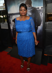 Octavia looked simply vibrant on the red carpet when she sported this blue lace, off-the-shoulder dress at the 'Fruitvale Station' premiere.