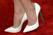 Jordana Brewster's look was all-white with the exception of her stunning heels, which had a neon green trim.