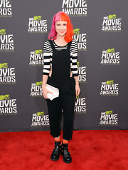 Hayley Williams rocked the black-and-white look with this striped crop top, which she paired with a cutout jumpsuit.