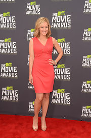 Kari Coleman looked sleek and sophisticated on the MTV Movie Awards red carpet when she chose this peach cocktail dress.
