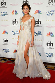 Olivia Culpo showed off some major leg in this silk crepe gown, which she wore to the Miss USA Pageant.