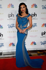 Jeannie sported a blue dress with light blue insets and panels at the Miss USA Pageant in Las Vegas.