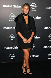 Lara Bingle chose a blazer-inspired cocktail dress for her sleek and chic look at the Prix de Marie Claire Awards.