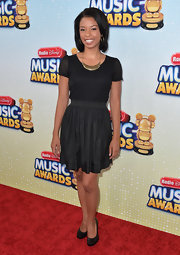 Angel chose this capped-sleeve frock with a circle skirt for her monochromatic look at the Radio Disney Music Awards.