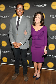 Sally Field chose a bright purple frock for her chic and sophisticated look at the Sundance Institute Theatre Program Benefit.