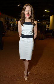 Laura Osnes opted for a sleek and sophisticated look at the Tony Awards Nominees Reception, where she wore this white and navy frock.
