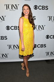 Sutton Foster chose a sunshine yellow lace frock for her bright and bold look at the Tony Award Nominations Announcements.