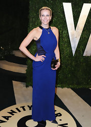 Chelsea Handler opted for a classic style gown with this blue column gown with halter neck.